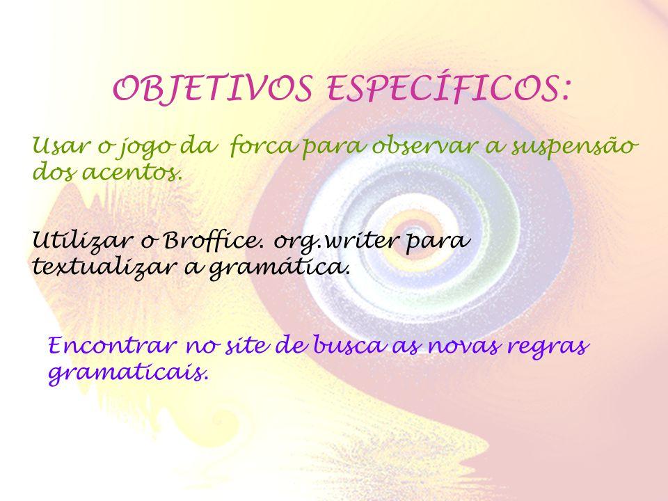 OBJETIVOS ESPECÍFICOS: Usar o jogo da forca para observar a suspensão dos acentos. Utilizar o Broffice. org.writer para textualizar a gramática. Encon