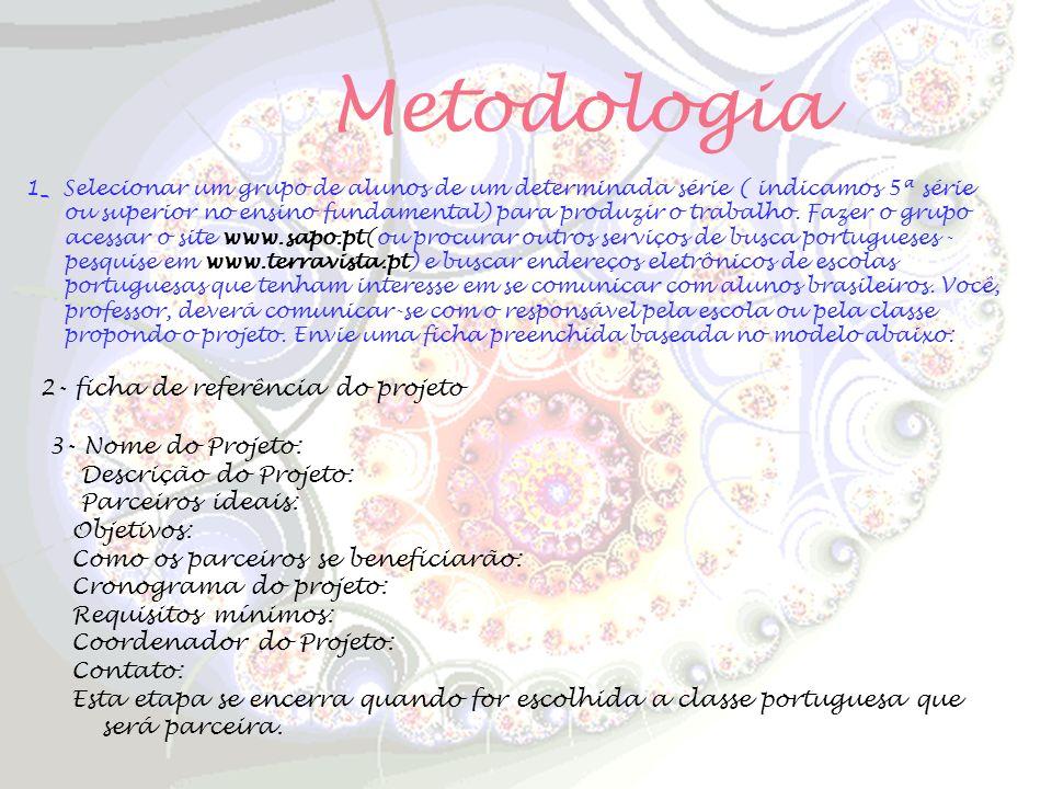 Metodologia 1_ Selecionar um grupo de alunos de um determinada série ( indicamos 5ª série ou superior no ensino fundamental) para produzir o trabalho.