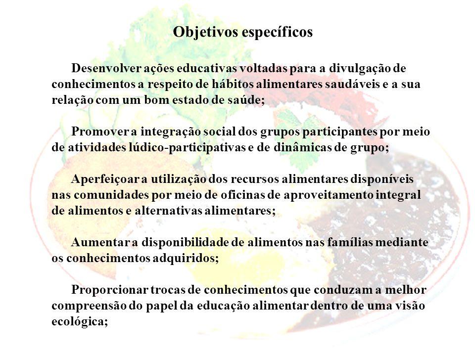 Objetivos específicos Desenvolver ações educativas voltadas para a divulgação de conhecimentos a respeito de hábitos alimentares saudáveis e a sua rel