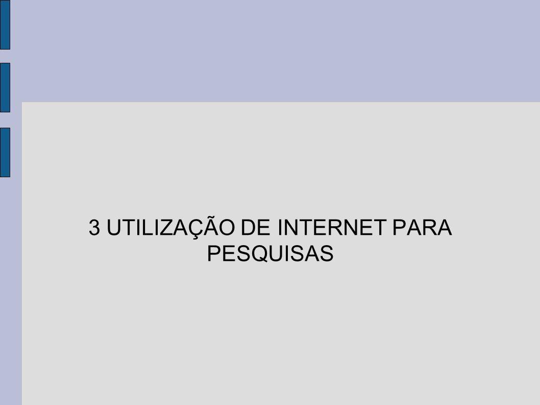 3 UTILIZAÇÃO DE INTERNET PARA PESQUISAS