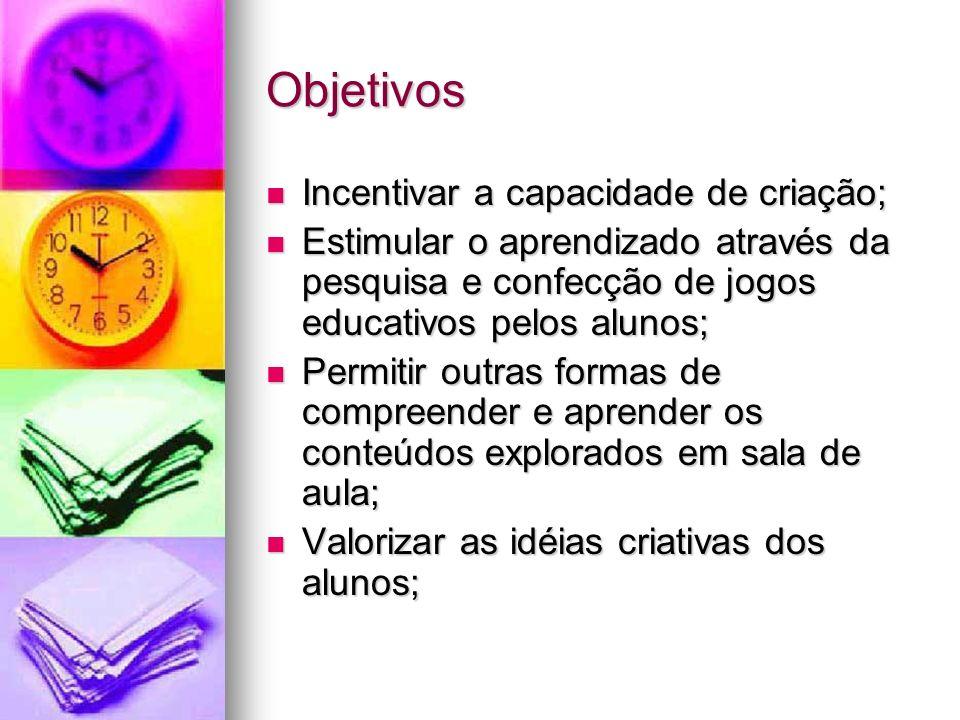 Objetivos Incentivar a capacidade de criação; Incentivar a capacidade de criação; Estimular o aprendizado através da pesquisa e confecção de jogos edu
