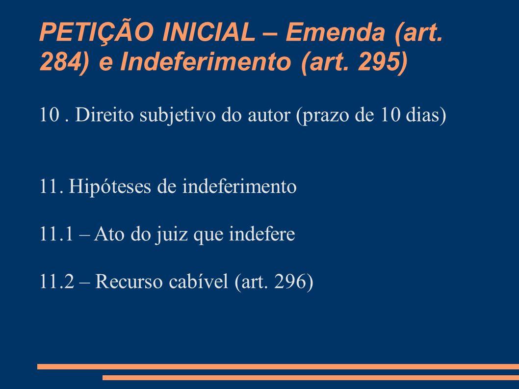 PETIÇÃO INICIAL – Emenda (art. 284) e Indeferimento (art. 295) 10. Direito subjetivo do autor (prazo de 10 dias) 11. Hipóteses de indeferimento 11.1 –