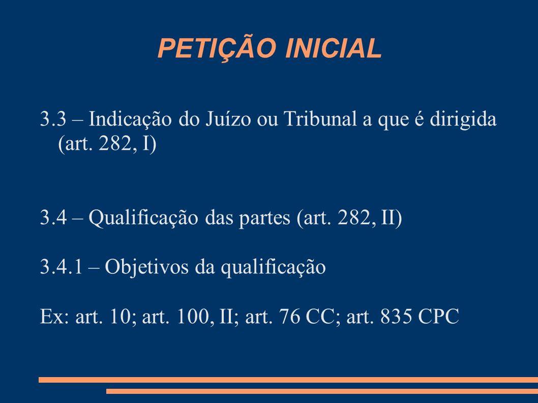 PETIÇÃO INICIAL 3.3 – Indicação do Juízo ou Tribunal a que é dirigida (art. 282, I) 3.4 – Qualificação das partes (art. 282, II) 3.4.1 – Objetivos da