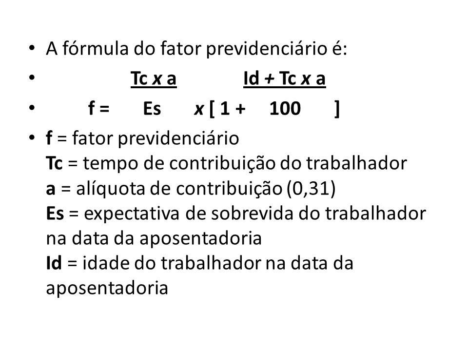 A fórmula do fator previdenciário é: Tc x a Id + Tc x a f = Es x [ 1 + 100 ] f = fator previdenciário Tc = tempo de contribuição do trabalhador a = al