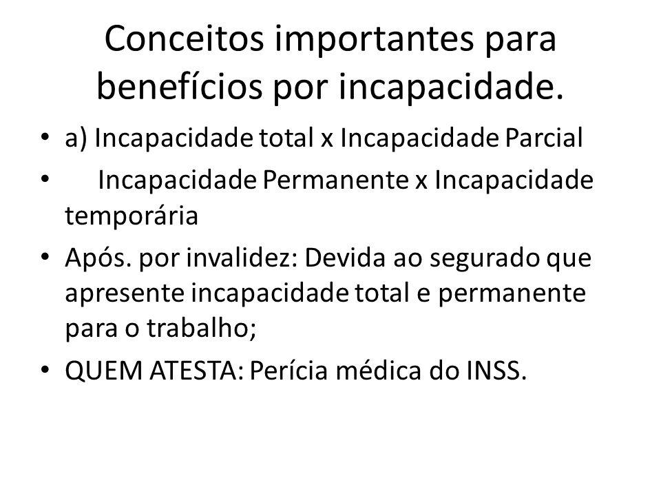 Conceitos importantes para benefícios por incapacidade. a) Incapacidade total x Incapacidade Parcial Incapacidade Permanente x Incapacidade temporária