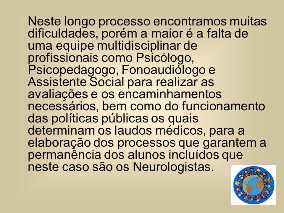 Neste longo processo encontramos muitas dificuldades, porém a maior é a falta de uma equipe multidisciplinar de profissionais como Psicólogo, Psicoped