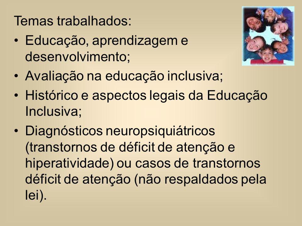 Temas trabalhados: Educação, aprendizagem e desenvolvimento; Avaliação na educação inclusiva; Histórico e aspectos legais da Educação Inclusiva; Diagn