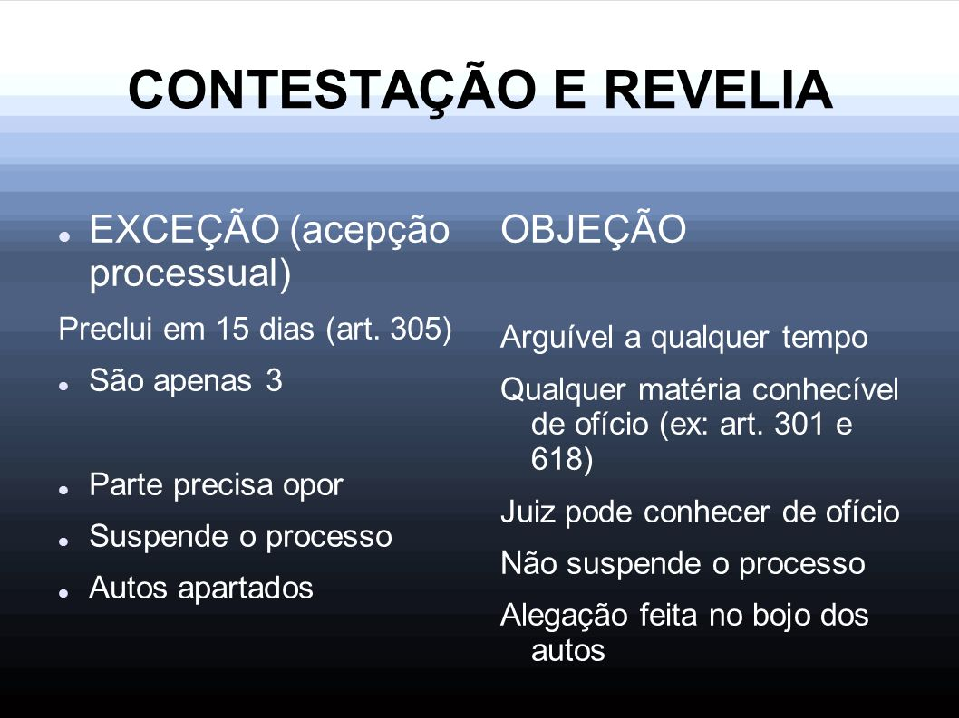 CONTESTAÇÃO E REVELIA EXCEÇÃO (acepção processual) Preclui em 15 dias (art. 305) São apenas 3 Parte precisa opor Suspende o processo Autos apartados O