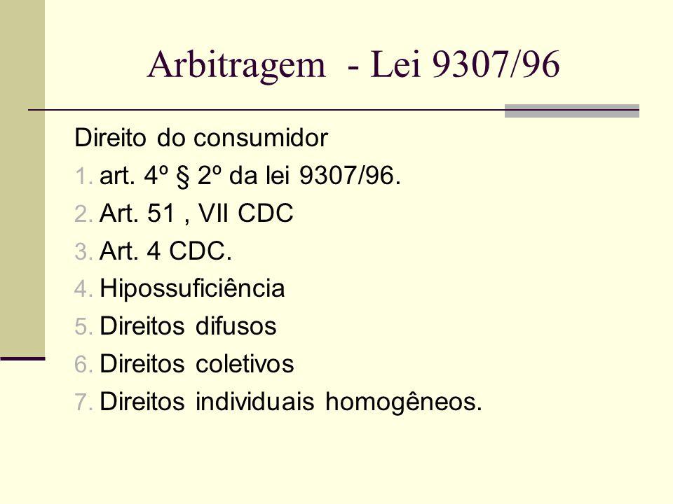 Arbitragem - Lei 9307/96 Direito do consumidor 1. art. 4º § 2º da lei 9307/96. 2. Art. 51, VII CDC 3. Art. 4 CDC. 4. Hipossuficiência 5. Direitos difu