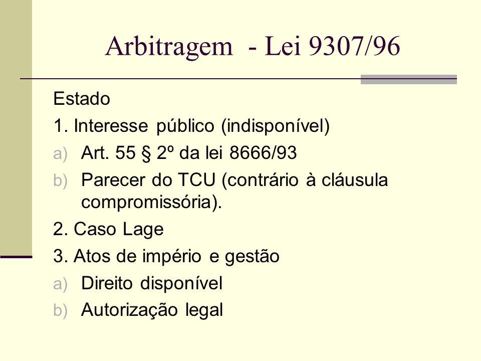 Estado 1. Interesse público (indisponível) a) Art. 55 § 2º da lei 8666/93 b) Parecer do TCU (contrário à cláusula compromissória). 2. Caso Lage 3. Ato