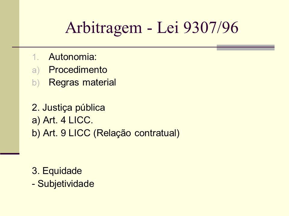 Arbitragem - Lei 9307/96 1. Autonomia: a) Procedimento b) Regras material 2. Justiça pública a) Art. 4 LICC. b) Art. 9 LICC (Relação contratual) 3. Eq