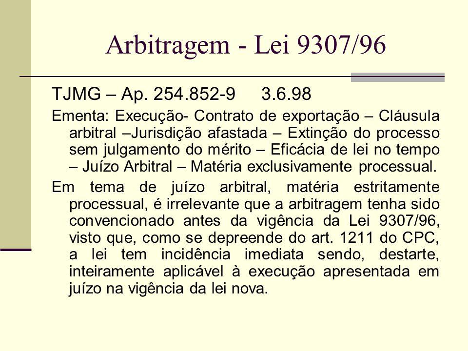 Arbitragem - Lei 9307/96 TJMG – Ap. 254.852-9 3.6.98 Ementa: Execução- Contrato de exportação – Cláusula arbitral –Jurisdição afastada – Extinção do p