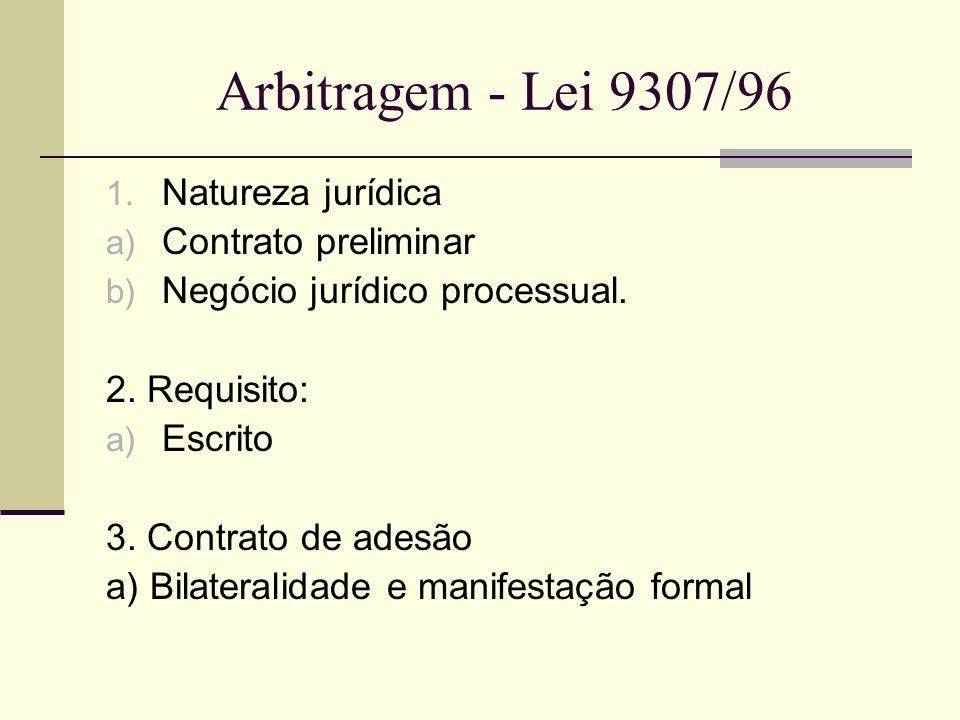 Arbitragem - Lei 9307/96 1. Natureza jurídica a) Contrato preliminar b) Negócio jurídico processual. 2. Requisito: a) Escrito 3. Contrato de adesão a)