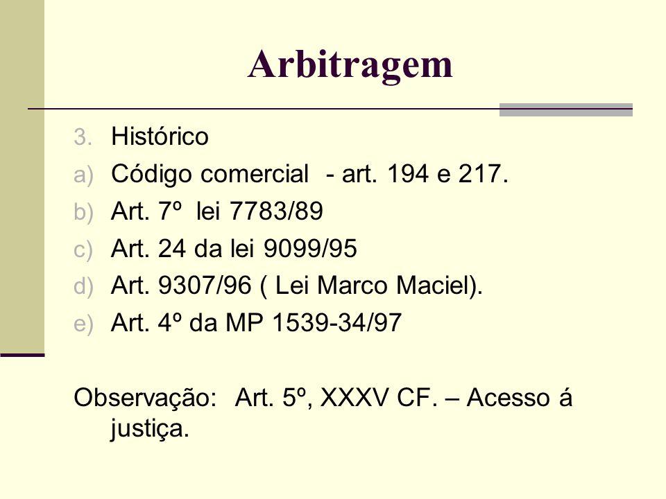 3. Histórico a) Código comercial - art. 194 e 217. b) Art. 7º lei 7783/89 c) Art. 24 da lei 9099/95 d) Art. 9307/96 ( Lei Marco Maciel). e) Art. 4º da