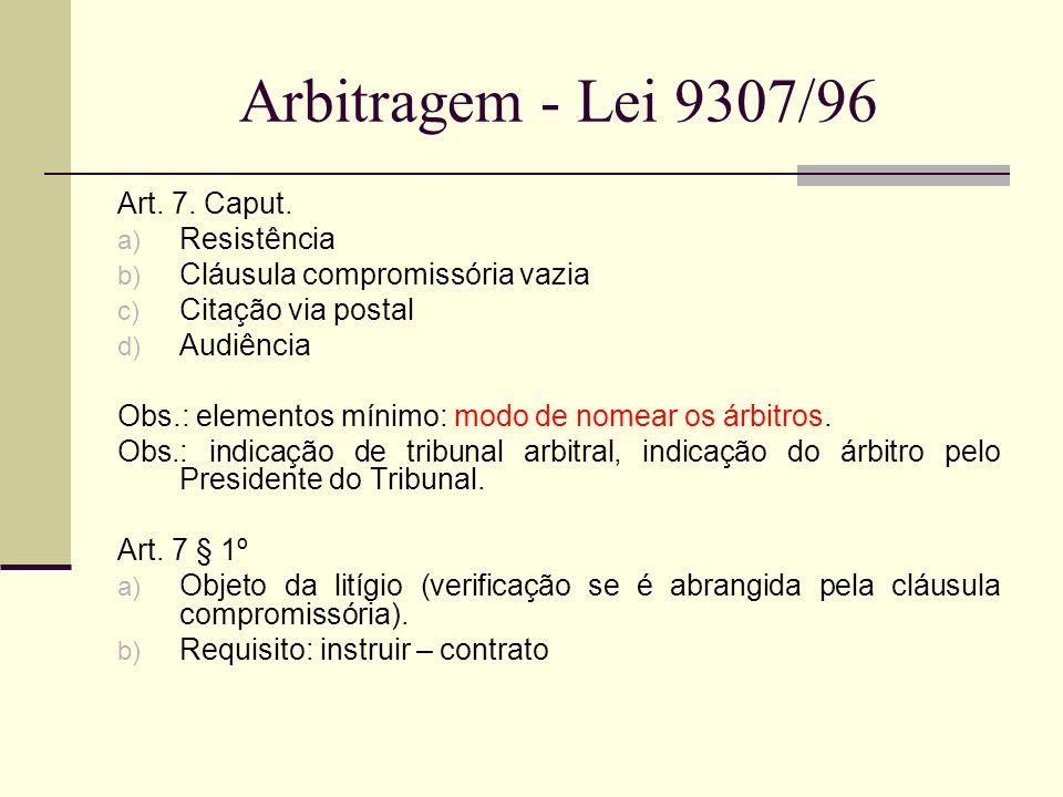 Arbitragem - Lei 9307/96 Art. 7. Caput. a) Resistência b) Cláusula compromissória vazia c) Citação via postal d) Audiência Obs.: elementos mínimo: mod