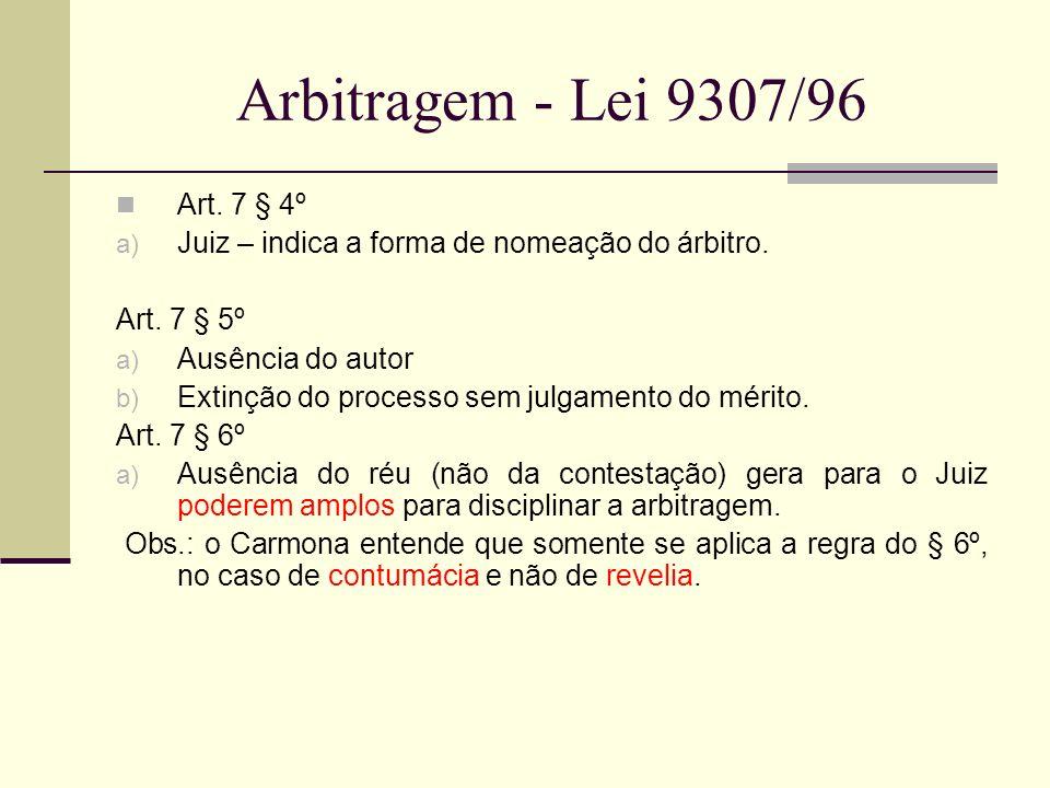 Arbitragem - Lei 9307/96 Art. 7 § 4º a) Juiz – indica a forma de nomeação do árbitro. Art. 7 § 5º a) Ausência do autor b) Extinção do processo sem jul