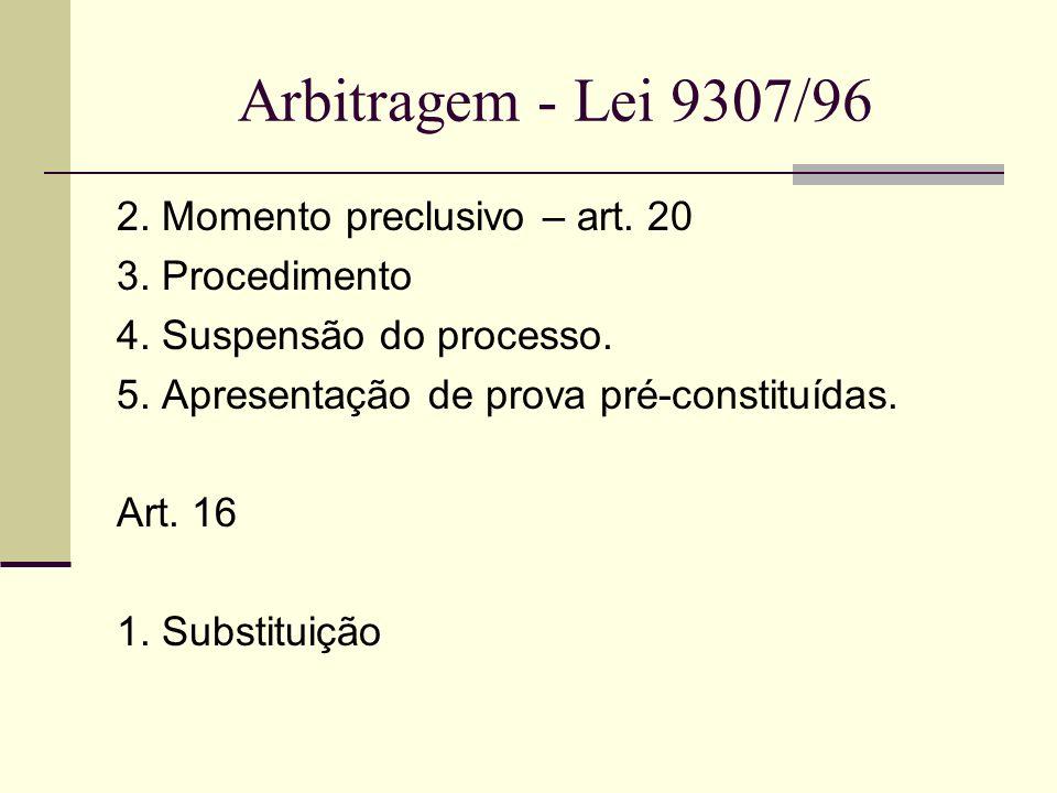 Arbitragem - Lei 9307/96 2. Momento preclusivo – art. 20 3. Procedimento 4. Suspensão do processo. 5. Apresentação de prova pré-constituídas. Art. 16