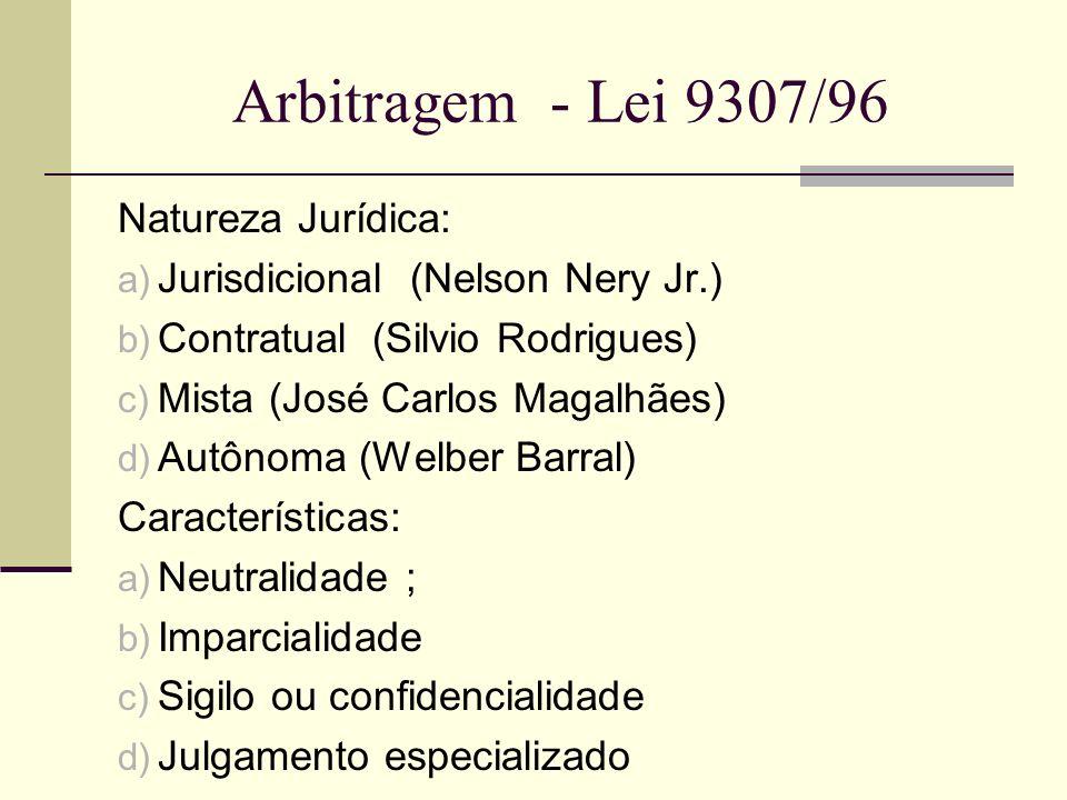 Arbitragem - Lei 9307/96 Natureza Jurídica: a) Jurisdicional (Nelson Nery Jr.) b) Contratual (Silvio Rodrigues) c) Mista (José Carlos Magalhães) d) Au