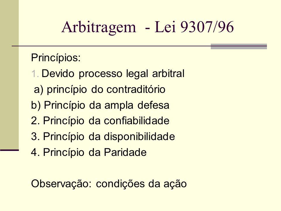 Arbitragem - Lei 9307/96 Princípios: 1. Devido processo legal arbitral a) princípio do contraditório b) Princípio da ampla defesa 2. Princípio da conf