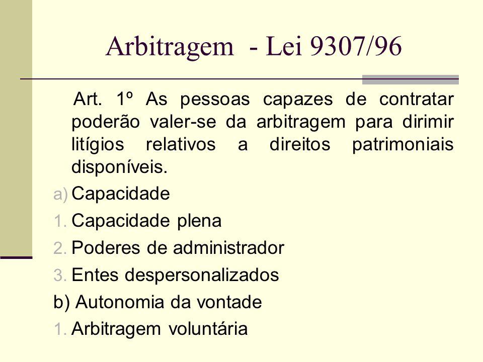 Arbitragem - Lei 9307/96 Requisito: a) Escritura pública b) Instrumento particular com duas testemunhas.
