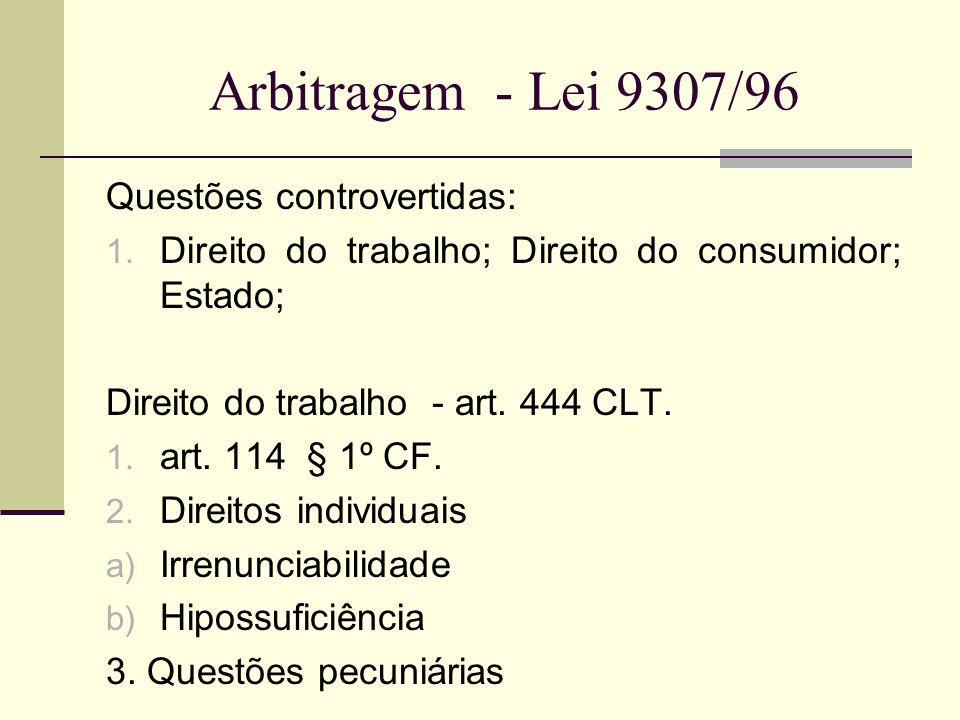 Arbitragem - Lei 9307/96 Questões controvertidas: 1. Direito do trabalho; Direito do consumidor; Estado; Direito do trabalho - art. 444 CLT. 1. art. 1