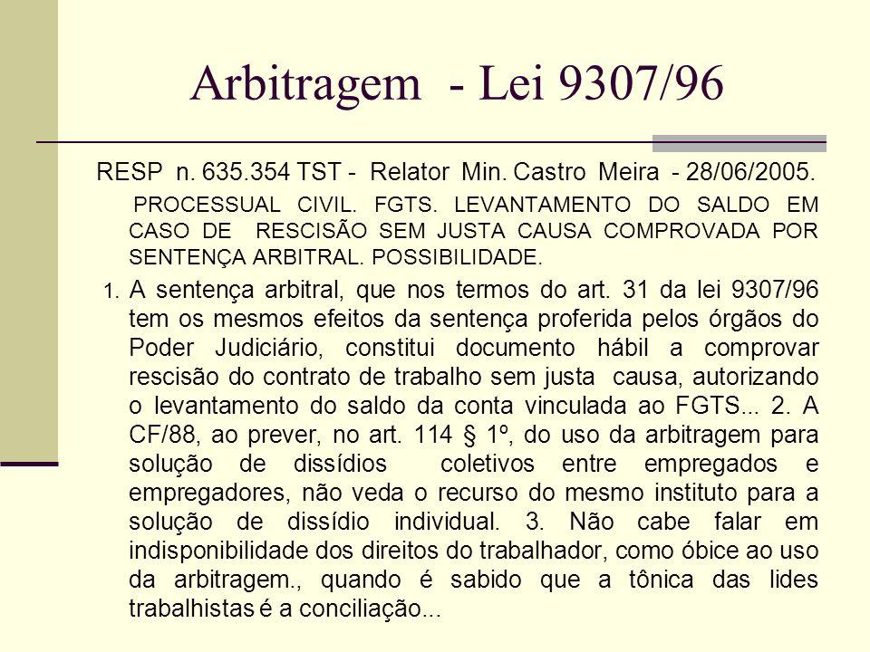 Arbitragem - Lei 9307/96 RESP n. 635.354 TST - Relator Min. Castro Meira - 28/06/2005. PROCESSUAL CIVIL. FGTS. LEVANTAMENTO DO SALDO EM CASO DE RESCIS