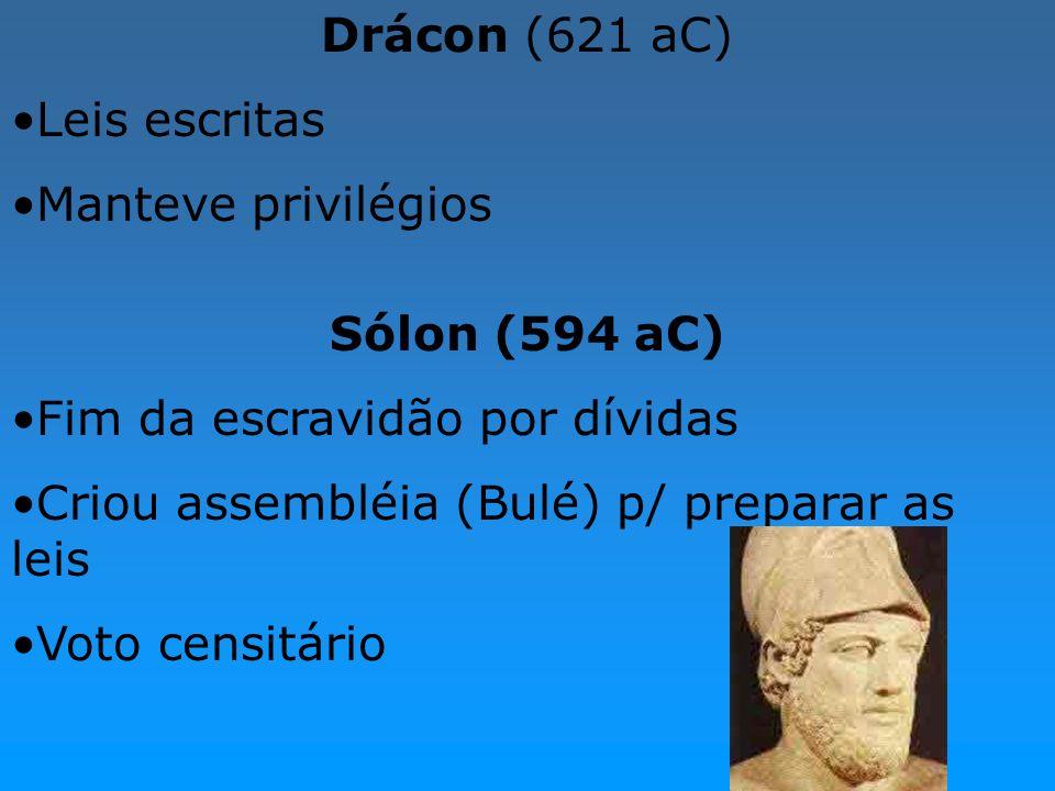 Drácon (621 aC) Leis escritas Manteve privilégios Sólon (594 aC) Fim da escravidão por dívidas Criou assembléia (Bulé) p/ preparar as leis Voto censit