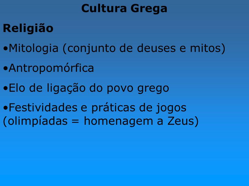 Cultura Grega Religião Mitologia (conjunto de deuses e mitos) Antropomórfica Elo de ligação do povo grego Festividades e práticas de jogos (olimpíadas