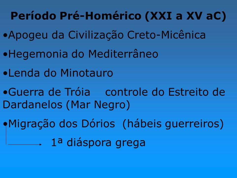 Período Pré-Homérico (XXI a XV aC) Apogeu da Civilização Creto-Micênica Hegemonia do Mediterrâneo Lenda do Minotauro Guerra de Tróia controle do Estre
