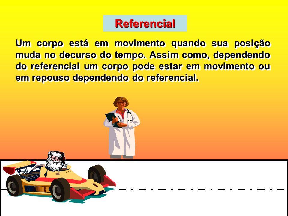 Referencial Um corpo está em movimento quando sua posição muda no decurso do tempo. Assim como, dependendo do referencial um corpo pode estar em movim