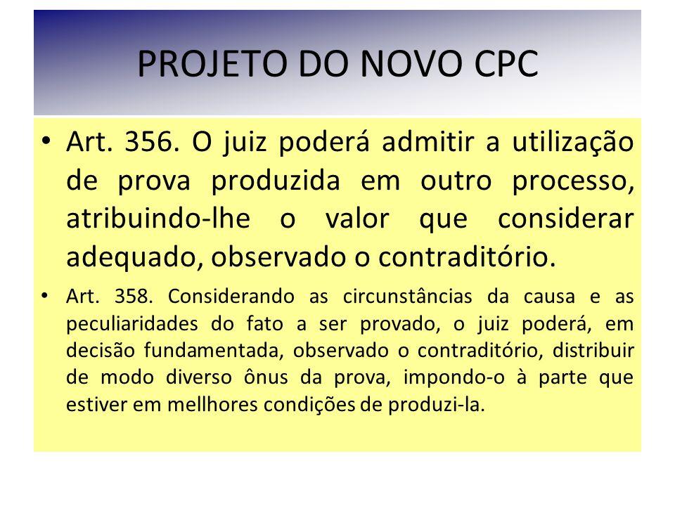 PROJETO DO NOVO CPC Art. 356. O juiz poderá admitir a utilização de prova produzida em outro processo, atribuindo-lhe o valor que considerar adequado,