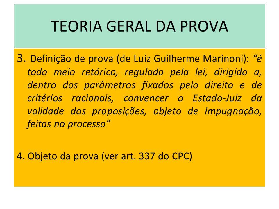 TEORIA GERAL DA PROVA 3. Definição de prova (de Luiz Guilherme Marinoni): é todo meio retórico, regulado pela lei, dirigido a, dentro dos parâmetros f