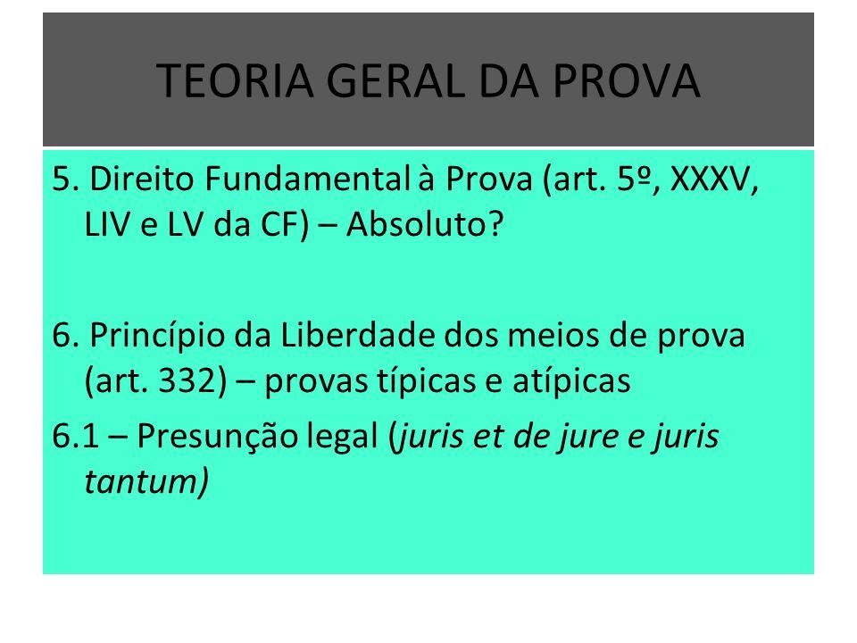 TEORIA GERAL DA PROVA 5. Direito Fundamental à Prova (art. 5º, XXXV, LIV e LV da CF) – Absoluto? 6. Princípio da Liberdade dos meios de prova (art. 33