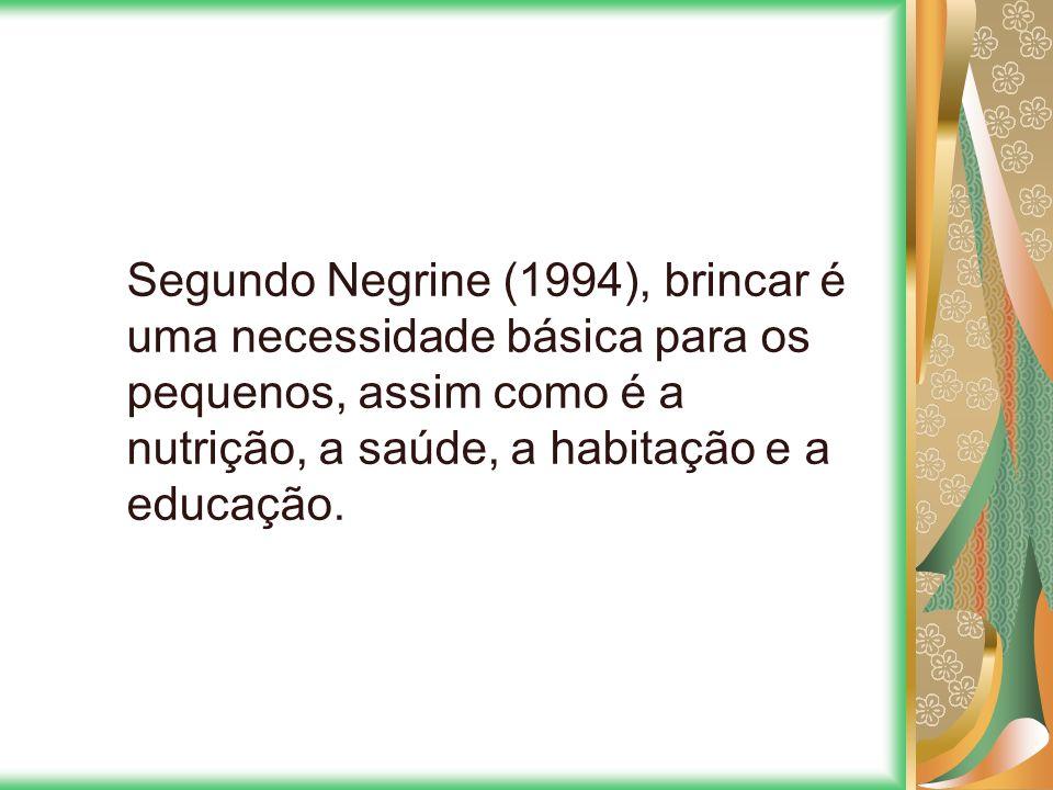 Segundo Negrine (1994), brincar é uma necessidade básica para os pequenos, assim como é a nutrição, a saúde, a habitação e a educação.