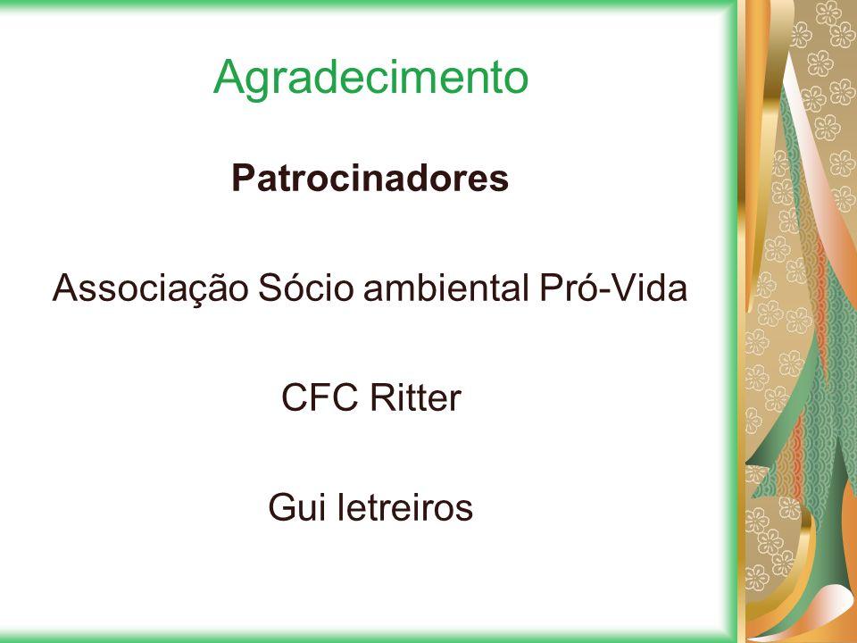 Agradecimento Patrocinadores Associação Sócio ambiental Pró-Vida CFC Ritter Gui letreiros