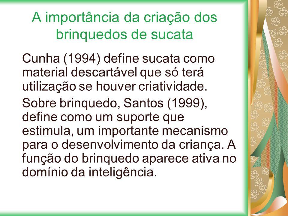 A importância da criação dos brinquedos de sucata Cunha (1994) define sucata como material descartável que só terá utilização se houver criatividade.