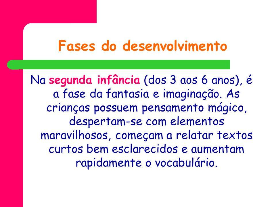 Fases do desenvolvimento Na segunda infância (dos 3 aos 6 anos), é a fase da fantasia e imaginação. As crianças possuem pensamento mágico, despertam-s