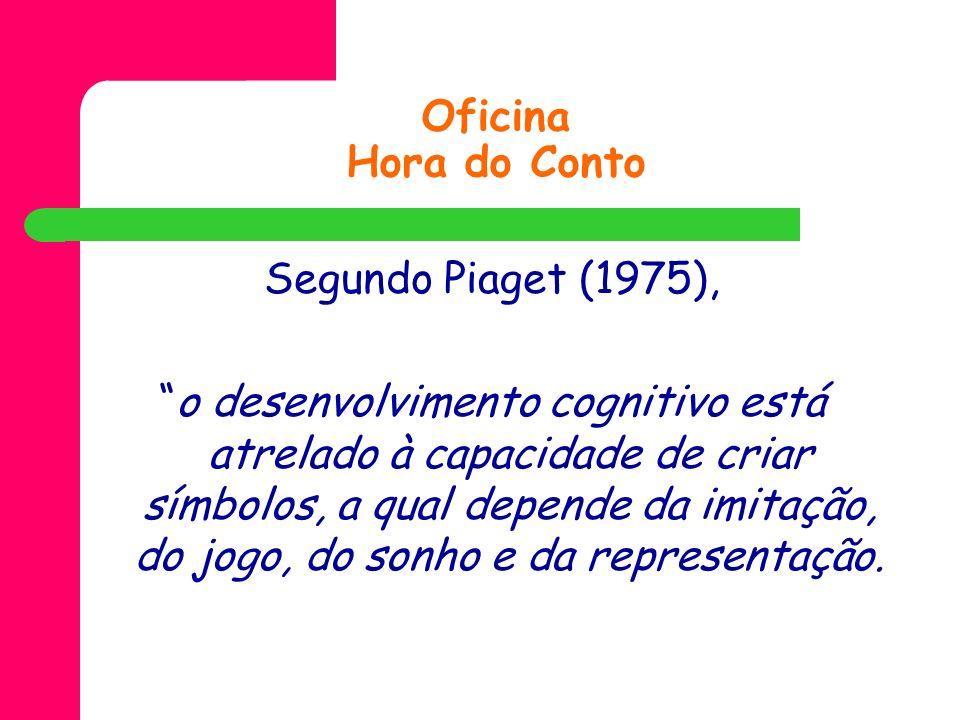 Oficina Hora do Conto Segundo Piaget (1975), o desenvolvimento cognitivo está atrelado à capacidade de criar símbolos, a qual depende da imitação, do