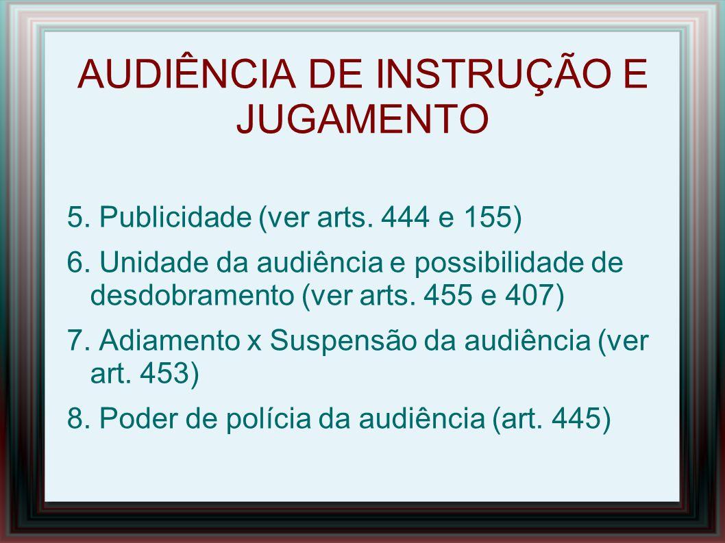 AUDIÊNCIA DE INSTRUÇÃO E JULGAMENTO 9.Horário (art.