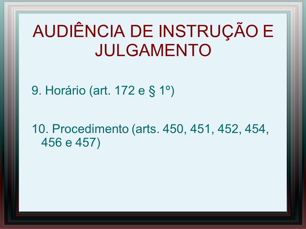 AUDIÊNCIA DE INSTRUÇÃO E JULGAMENTO 11.Ausências 11.1 – Justificadas (art.