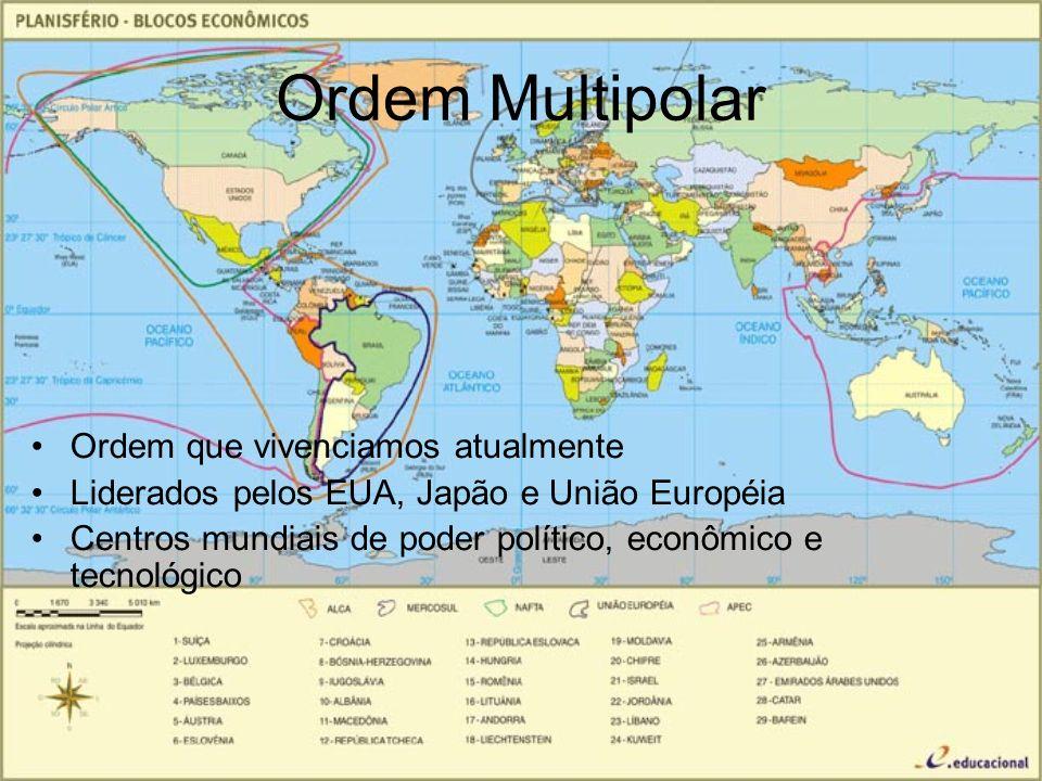 Ordem Multipolar Ordem que vivenciamos atualmente Liderados pelos EUA, Japão e União Européia Centros mundiais de poder político, econômico e tecnológ