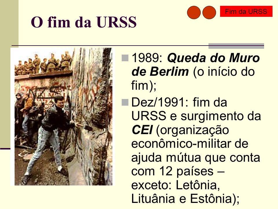 O fim da URSS 1989: Queda do Muro de Berlim (o início do fim); Dez/1991: fim da URSS e surgimento da CEI (organização econômico-militar de ajuda mútua que conta com 12 países – exceto: Letônia, Lituânia e Estônia); Fim da URSS