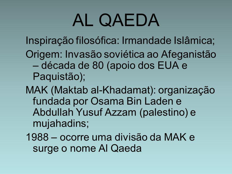 AL QAEDA Inspiração filosófica: Irmandade Islâmica; Origem: Invasão soviética ao Afeganistão – década de 80 (apoio dos EUA e Paquistão); MAK (Maktab a
