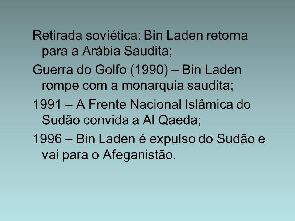 Retirada soviética: Bin Laden retorna para a Arábia Saudita; Guerra do Golfo (1990) – Bin Laden rompe com a monarquia saudita; 1991 – A Frente Naciona