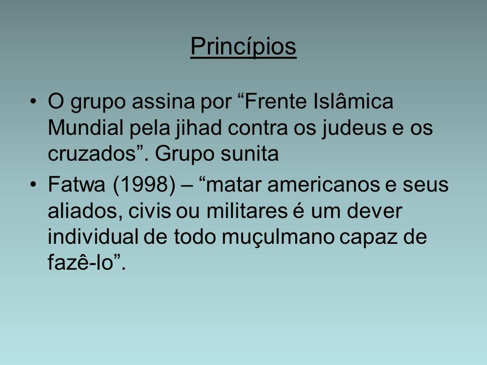 ORGANIZAÇÃO INTERNA Osama Bin Laden (Emir) – eleito por um conselho (20 a 30 membros); Divisão em comitês: Militar, Negócios e Dinheiro,Legislativo e Estudos Islâmicos/Fatwa; Estrutura descentralizada com organização interna rígida.