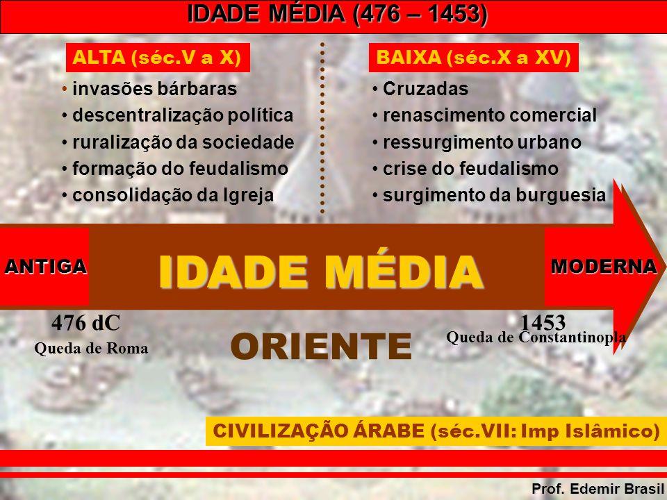 IDADE MÉDIA (476 – 1453) Prof.Edemir Brasil Apoio da Igreja (expansão do cristianismo).