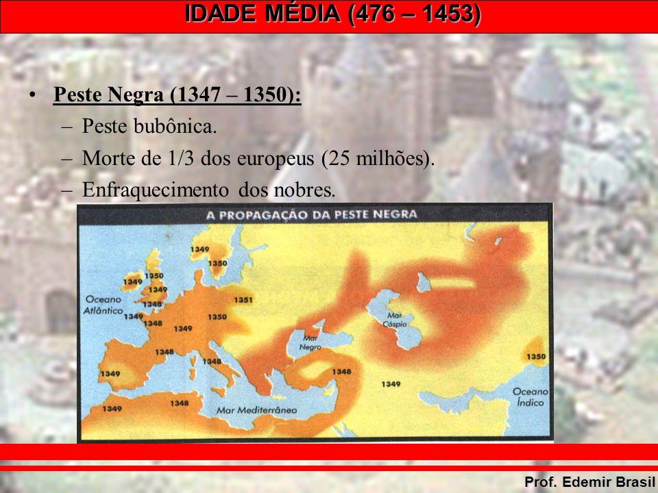 IDADE MÉDIA (476 – 1453) Prof. Edemir Brasil Peste Negra (1347 – 1350): –Peste bubônica.