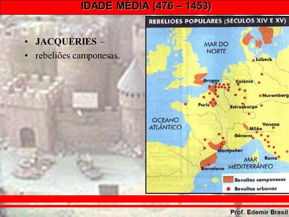 IDADE MÉDIA (476 – 1453) Prof. Edemir Brasil JACQUERIES – rebeliões camponesas.