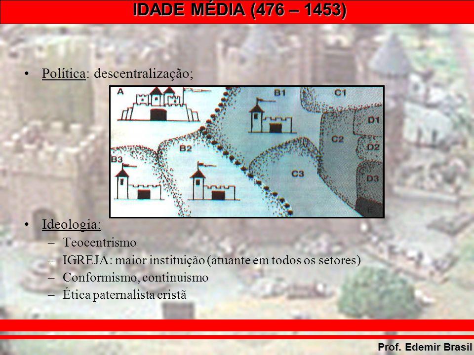 IDADE MÉDIA (476 – 1453) Prof.Edemir Brasil –Baixa Idade Média: Escolástica (São Tomás de Aquino).