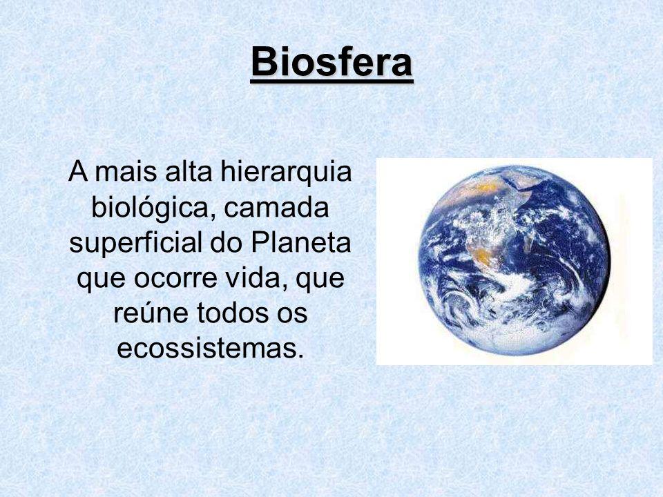 Biosfera A mais alta hierarquia biológica, camada superficial do Planeta que ocorre vida, que reúne todos os ecossistemas.